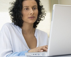 Woman researching birth options